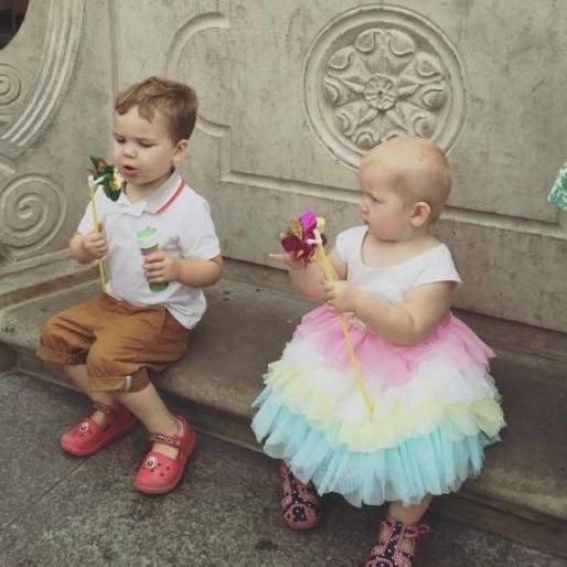 the littles blow bubbles